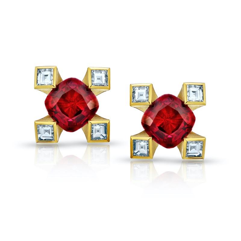 1.12 Carat Cushion Red Ruby and Diamond Earrings, SKU 28751V (1.33Ct TW)
