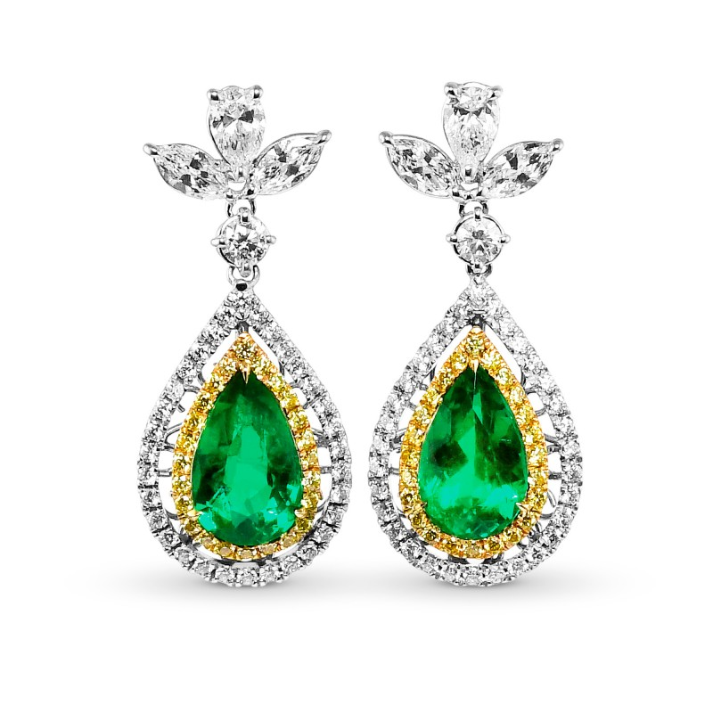 Colombian Pear Shape Emerald and Diamond Couture Earrings, SKU 28783M (7.67Ct TW)
