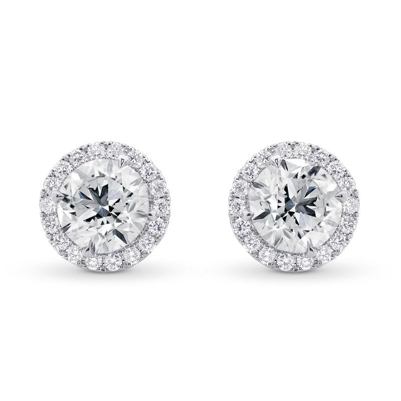 Round Brilliant GIA Diamond Halo Earrings, SKU 28819L (4.50Ct TW)