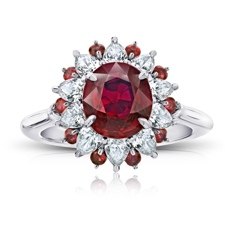 No Heat Pigeon Blood Ruby and Diamond Platinum Ring, SKU 28899V (4.73Ct TW)