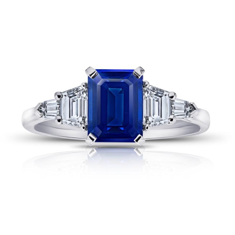 2.25 Carat Emerald Cut No Heat Blue Sapphire and Diamond Ring, SKU 28903V (3.04Ct TW)