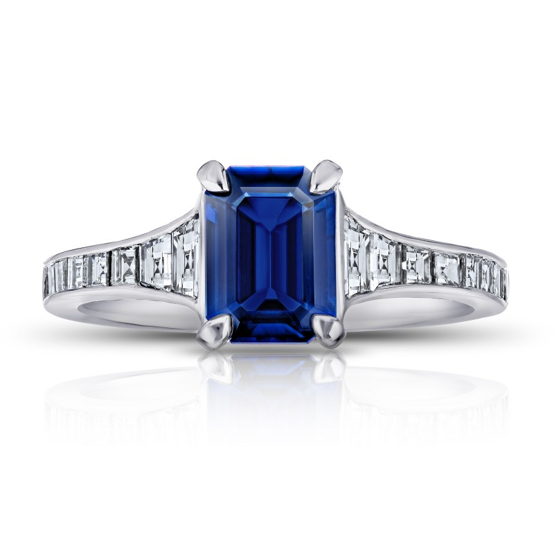 Emerald Cut (No Heat) Blue Sapphire and Diamond Ring, SKU 28907V (2.20Ct TW)