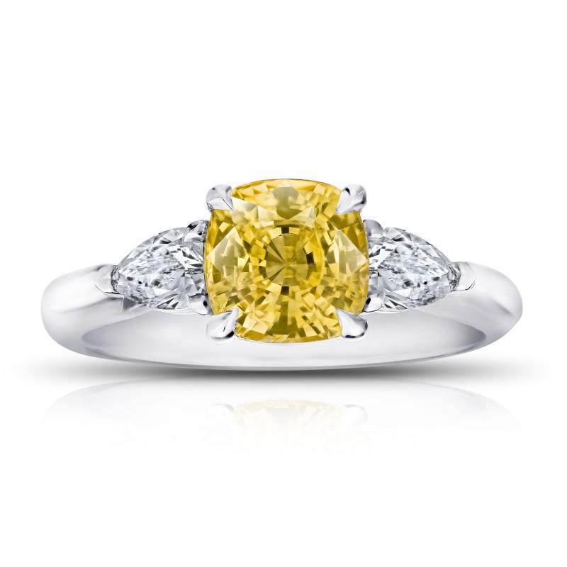 Cushion (no heat) Yellow Sapphire and Diamond Ring, SKU 28910V (2.82Ct TW)