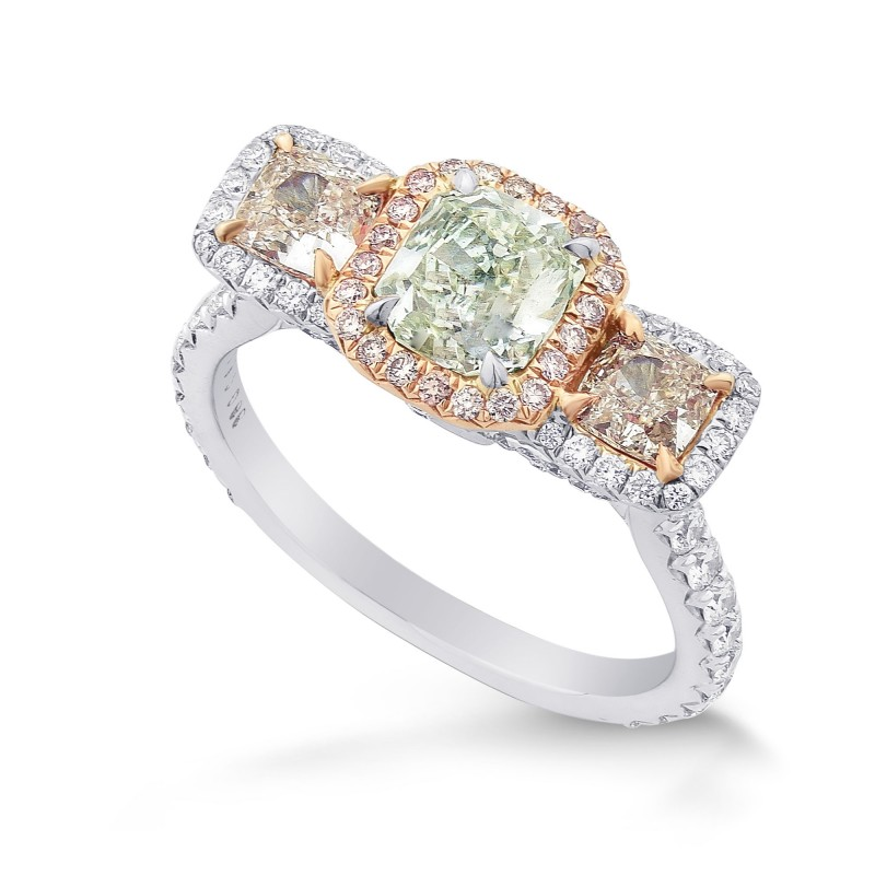 Extraordinary Green and Pink Radiant Diamond 3 Stone Ring, SKU 294664 (2.20Ct TW)