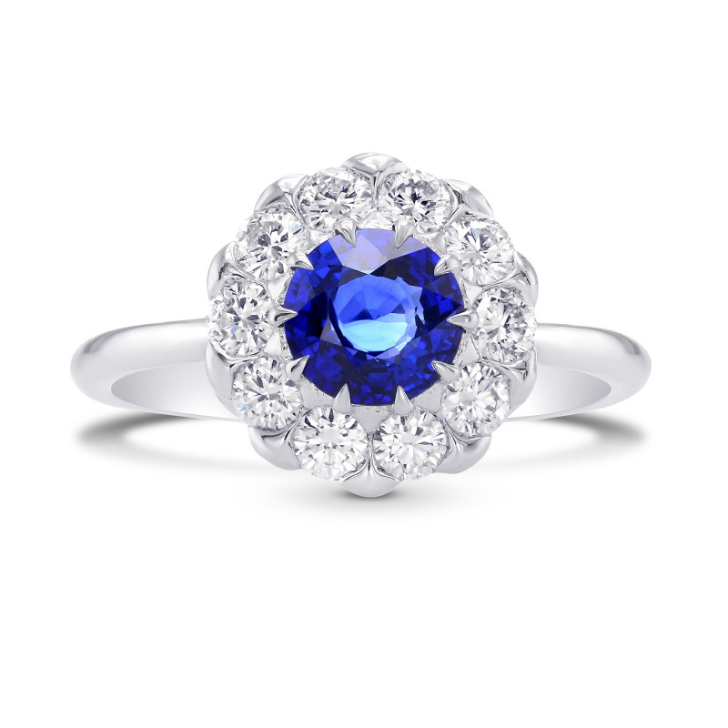 Blue Sapphire and Diamond Floral Design Halo Ring, SKU 298226 (1.63Ct TW)