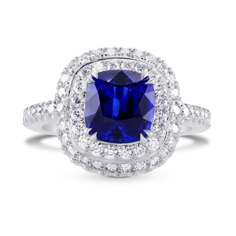 Blue Sapphire and Diamond Double Halo Platinum Ring, SKU 298227 (3.67Ct TW)