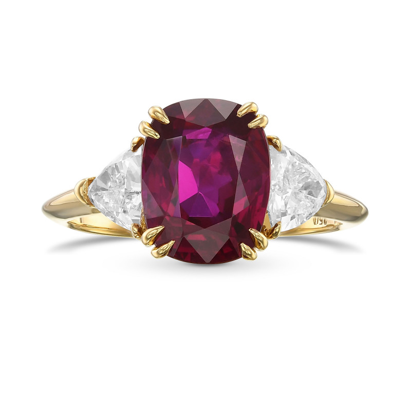Cushion Burma Ruby and Diamond 3 Stone Ring, SKU 29827V (4.02Ct TW)