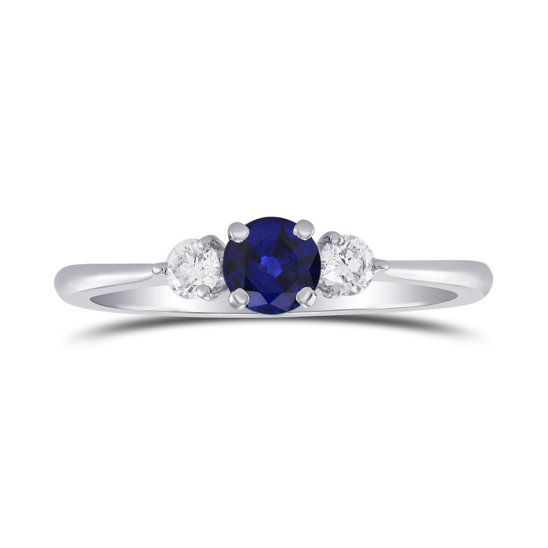 Blue Sapphire and Diamond Round Brillant 3 Stones Ring, SKU 298871 (0.54Ct TW)