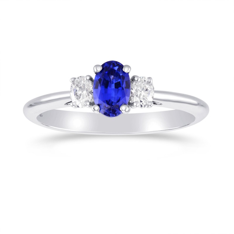 Blue Sapphire and Diamond 3 Stone Ring, SKU 298873 (0.89Ct TW)