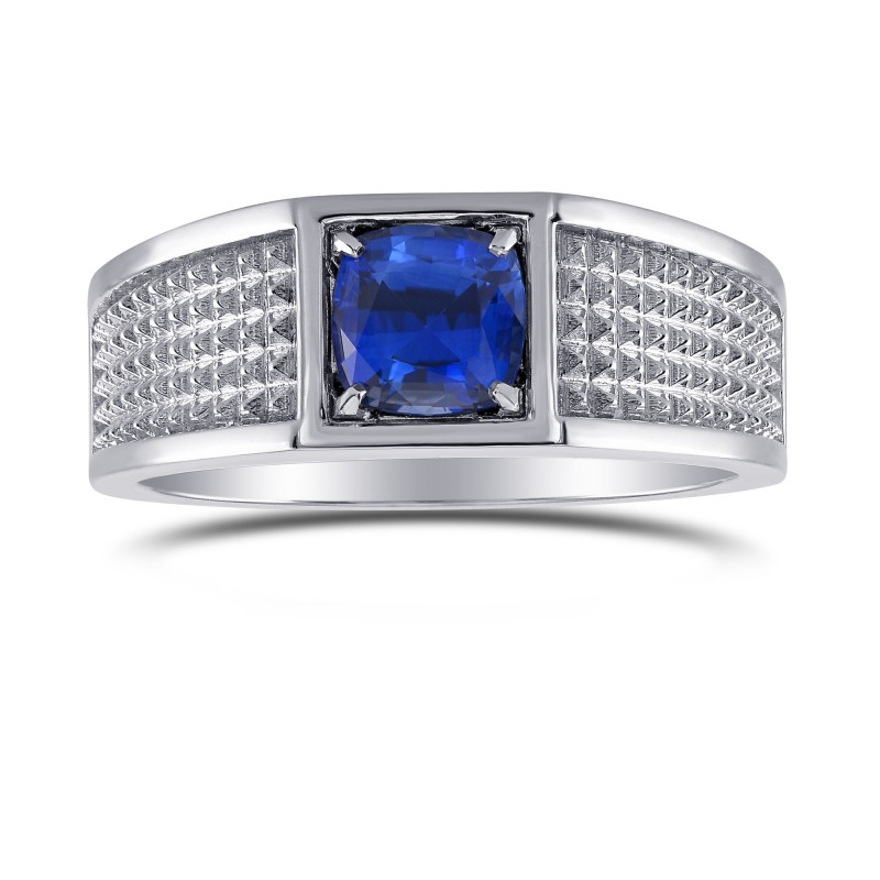 Blue Sapphire Cushion Men's Ring, SKU 302380 (1.21Ct)