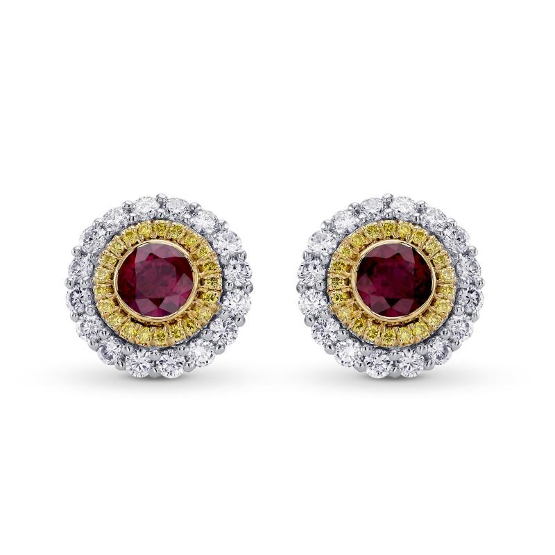 Ruby & Fancy Intense Yellow Diamond Halo Earrings, SKU 304007 (1.63Ct TW)