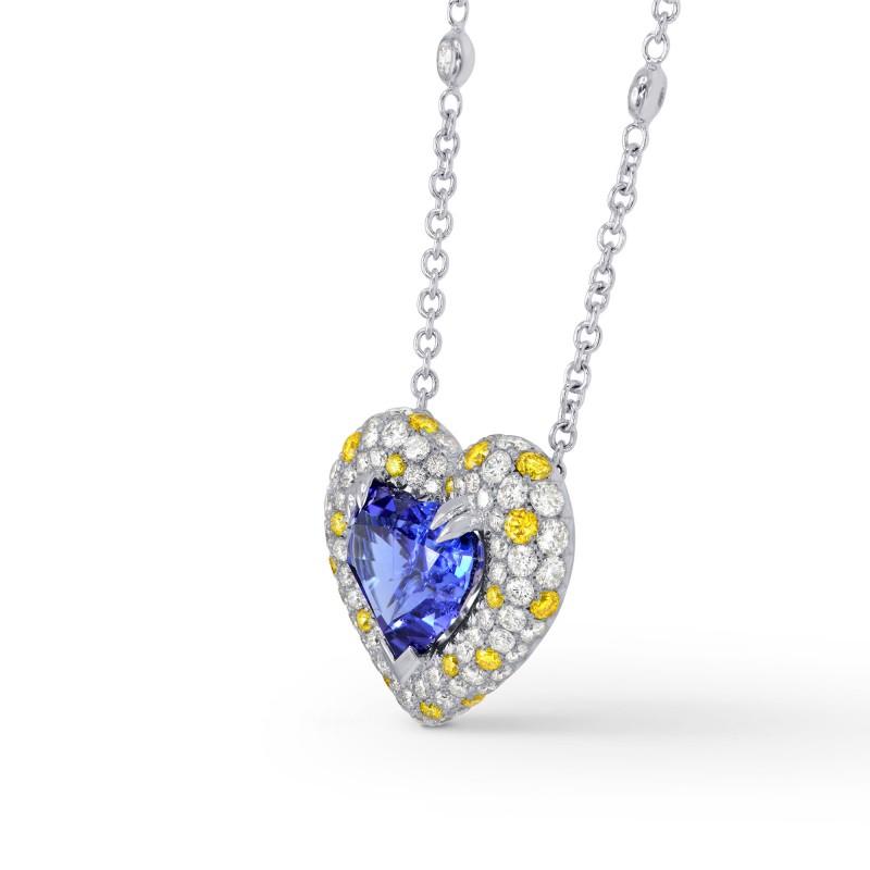 Heart Tanzanite White and Fancy Vivid Yellow Pave Diamond Pendant, SKU 31042 (5.55Ct TW)