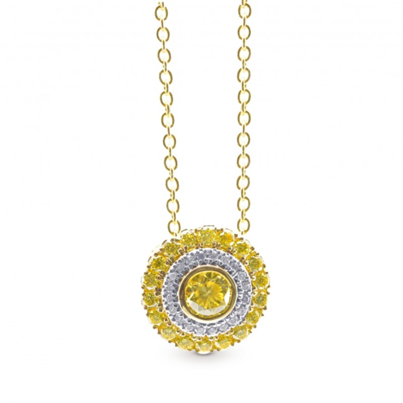 Fancy Intense Yellow Round Diamond Halo Pendant, SKU 310755 (0.50Ct TW)