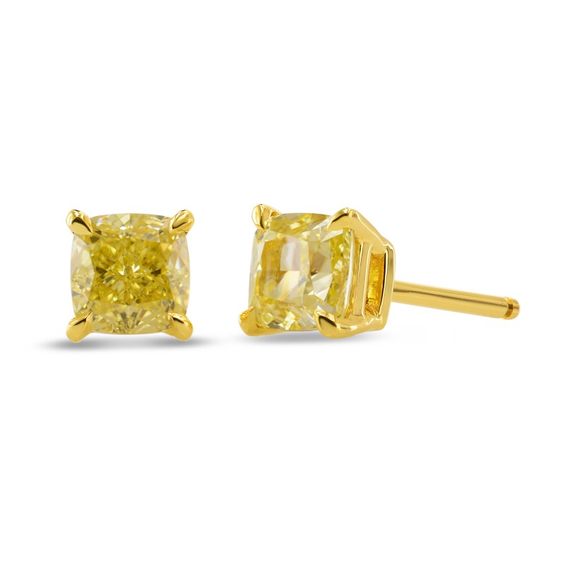 Fancy Intense Yellow Cushion Stud Diamond Earrings, SKU 312141 (2.60Ct TW)