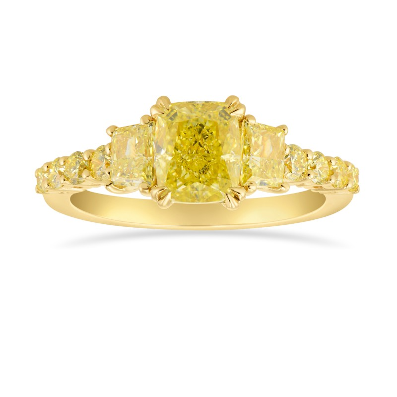 Fancy Yellow Cushion and Trapezoid Side Stones Ring, SKU 315775 (2.28Ct TW)