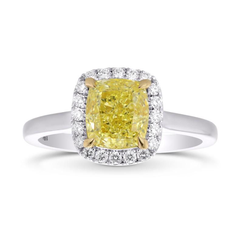 Fancy Yellow Cushion Diamond Halo Ring, SKU 355414 (1.64Ct TW)