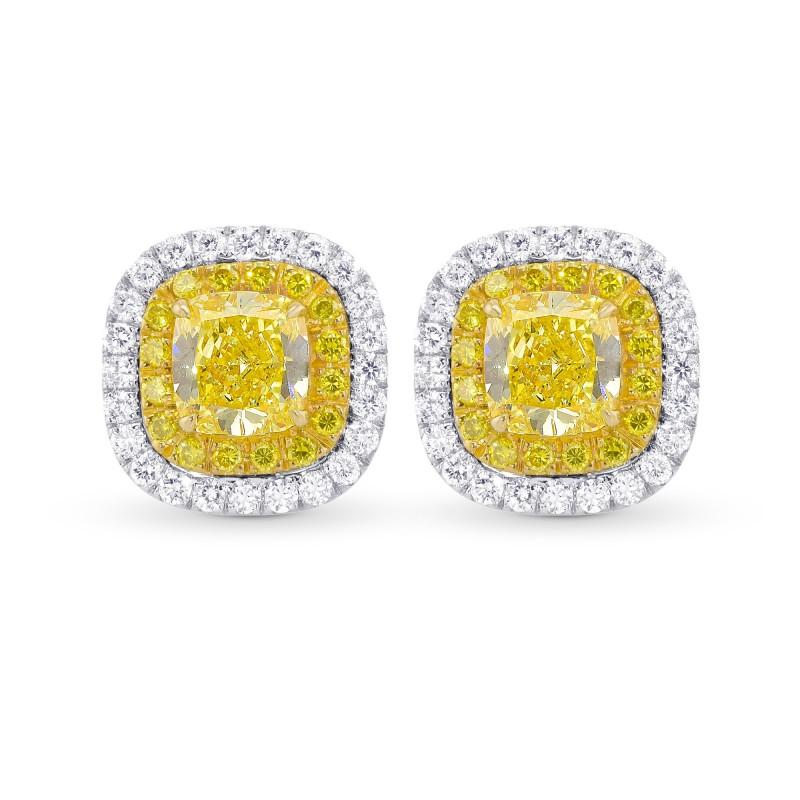 Fancy Intense Yellow Cushion Double Halo Earrings, SKU 356740 (1.47Ct TW)
