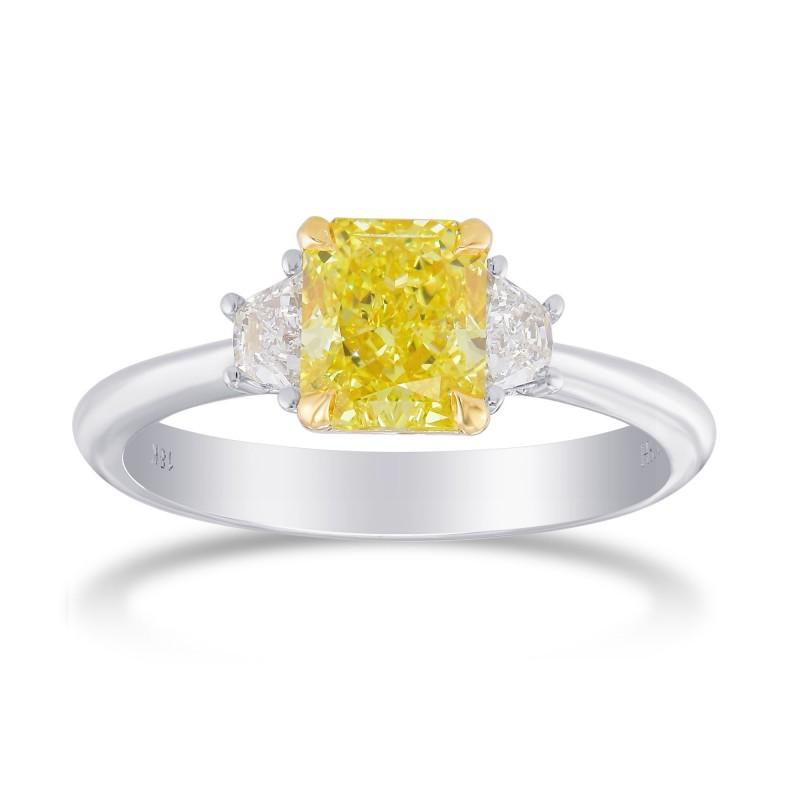 Fancy Intense Yellow Radiant Diamond 3 Stone Ring, SKU 358819 (1.48Ct TW)