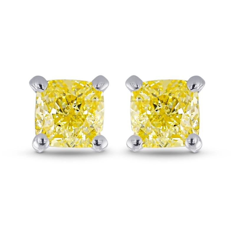 Fancy Yellow Cushion Stud Earrings Sku 363083 0 57ct Tw
