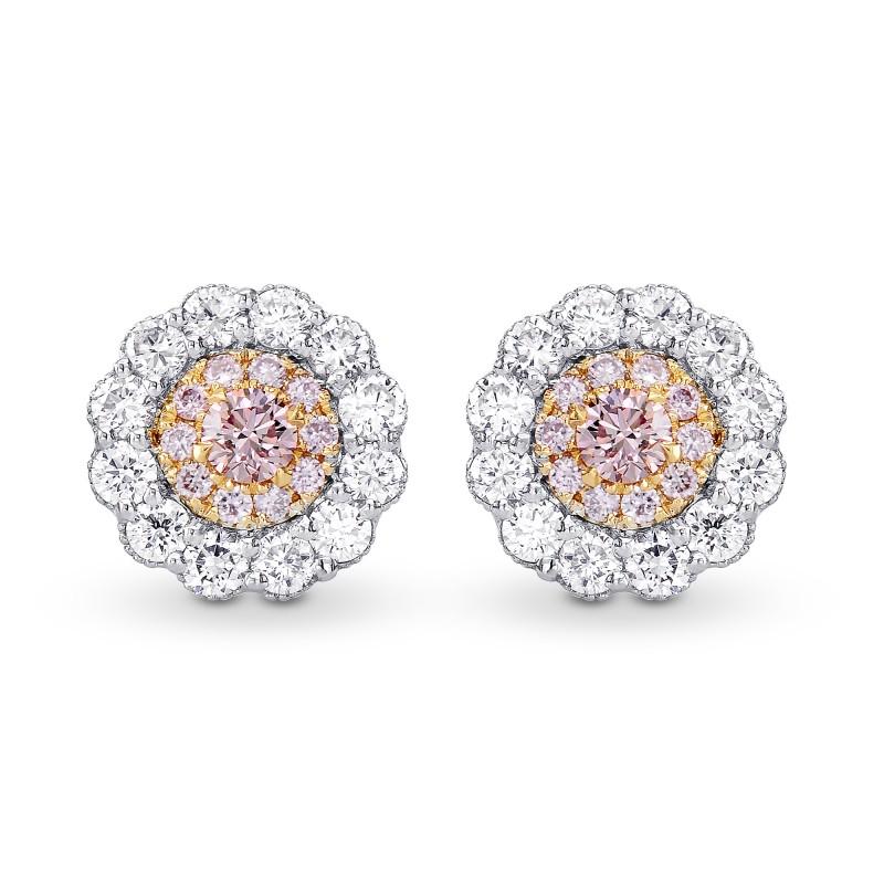 Fancy Pink & White Diamond Pave Flower Earrings, SKU 368833 (0.55Ct TW)