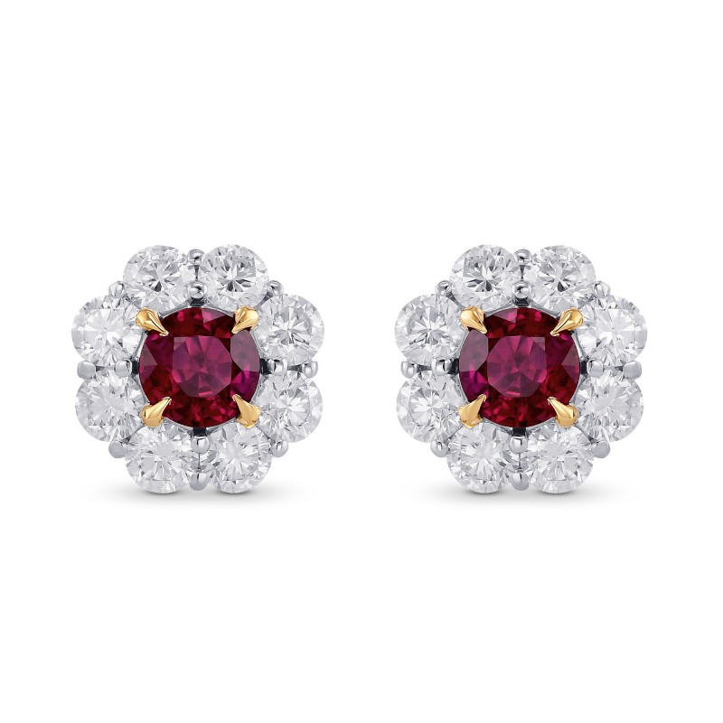 Pigeon Blood Ruby & Diamond Floral Halo Earrings, SKU 374221 (2.72Ct TW)