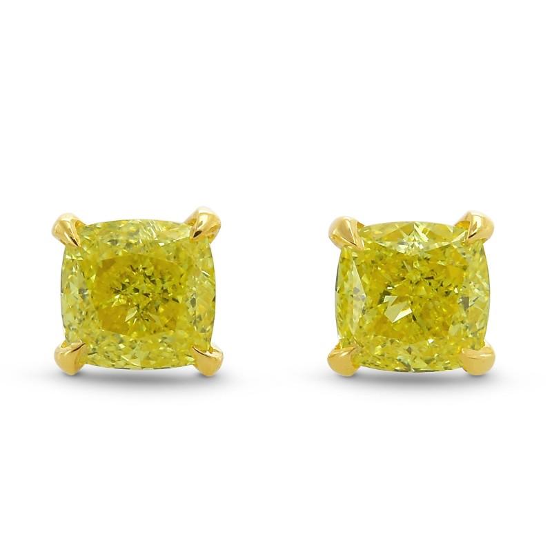Fancy Intense Yellow Cushion Stud Earrings, SKU 378573 (0.65Ct TW)
