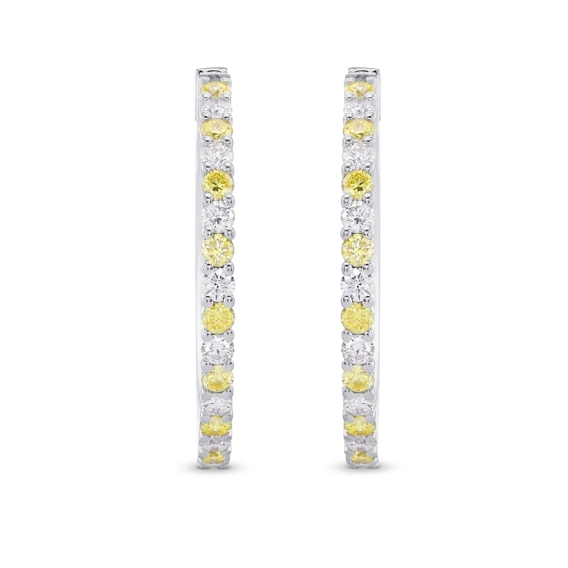 Fancy Yellow & Colorless Diamond Hoop Earrings, SKU 383024 (1.07Ct TW)