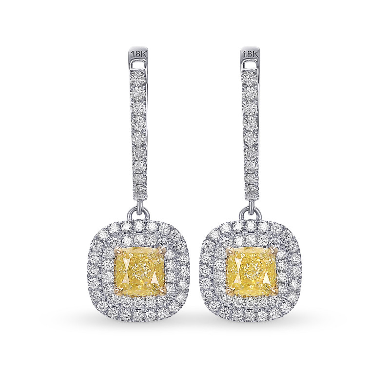 Fancy Light Yellow Diamond Halo Drop Earrings, SKU 385674 (1.84Ct TW)