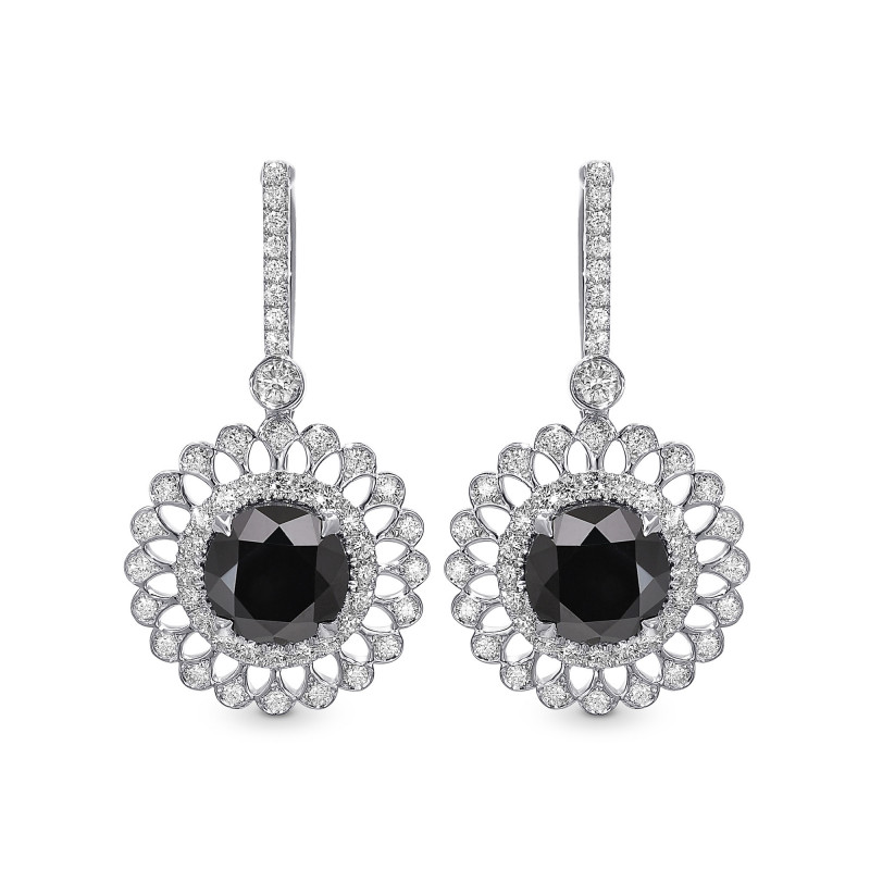 Natural Fancy  Black Diamond Filigree Halo Drop Earrings, SKU 397808 (4.89Ct TW)