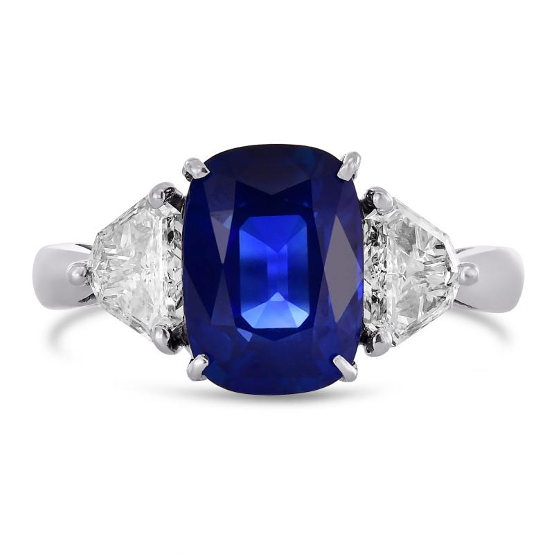 Cushion Kashmir Blue Sapphire and Diamond 3 Stones Ring, SKU 416104 (4.34Ct TW)