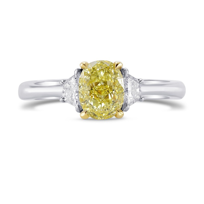 Fancy Yellow Oval and Trapezoid Diamond Ring, SKU 43189 (1.09Ct TW)