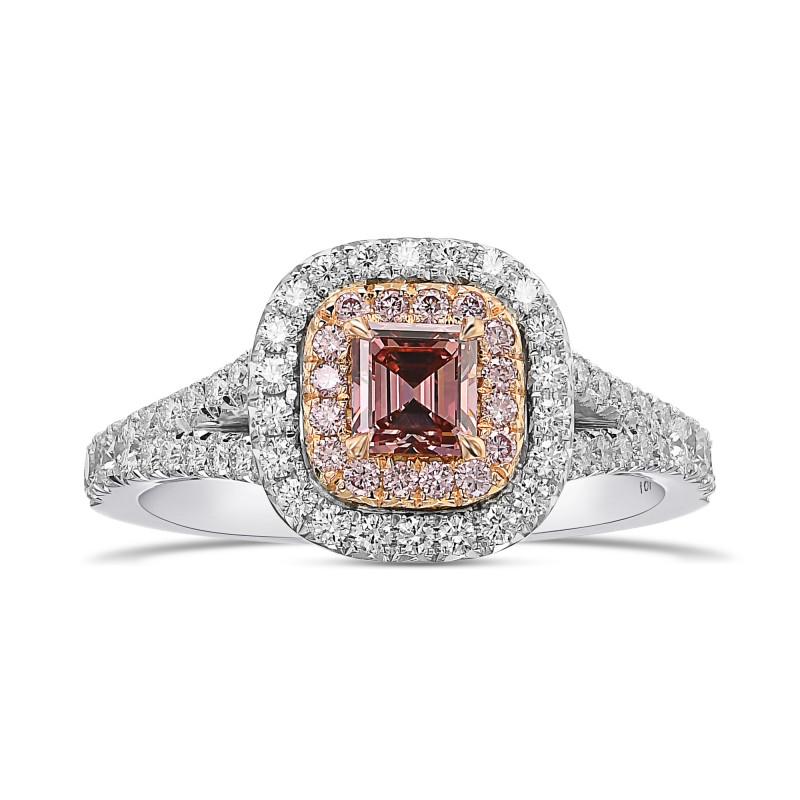 Fancy Intense Orangy Pink Double Halo Diamond Ring, SKU 454744 (0.87Ct TW)