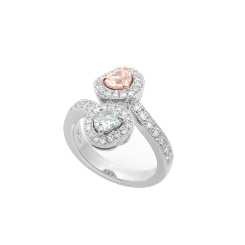 GIA certified Light Pink And Light Green Heart Diamond Halo Ring, SKU 48152 (1.42Ct TW)