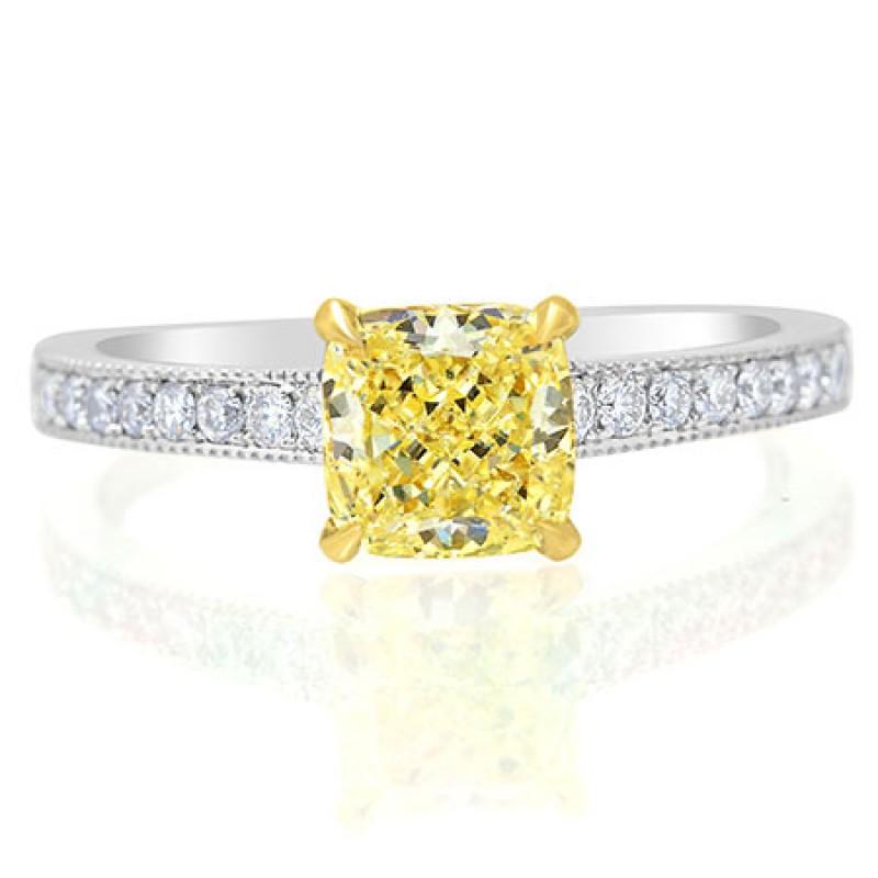 Fancy Light Yellow Cushion Diamond Ring, SKU 56372 (1.29Ct TW)