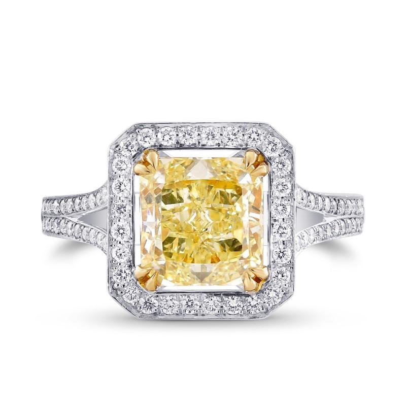 2.44ct Y-Z Radiant Cut Halo Diamond Ring set in 18K gold & Pave diamonds., SKU 56482 (3.00Ct TW)