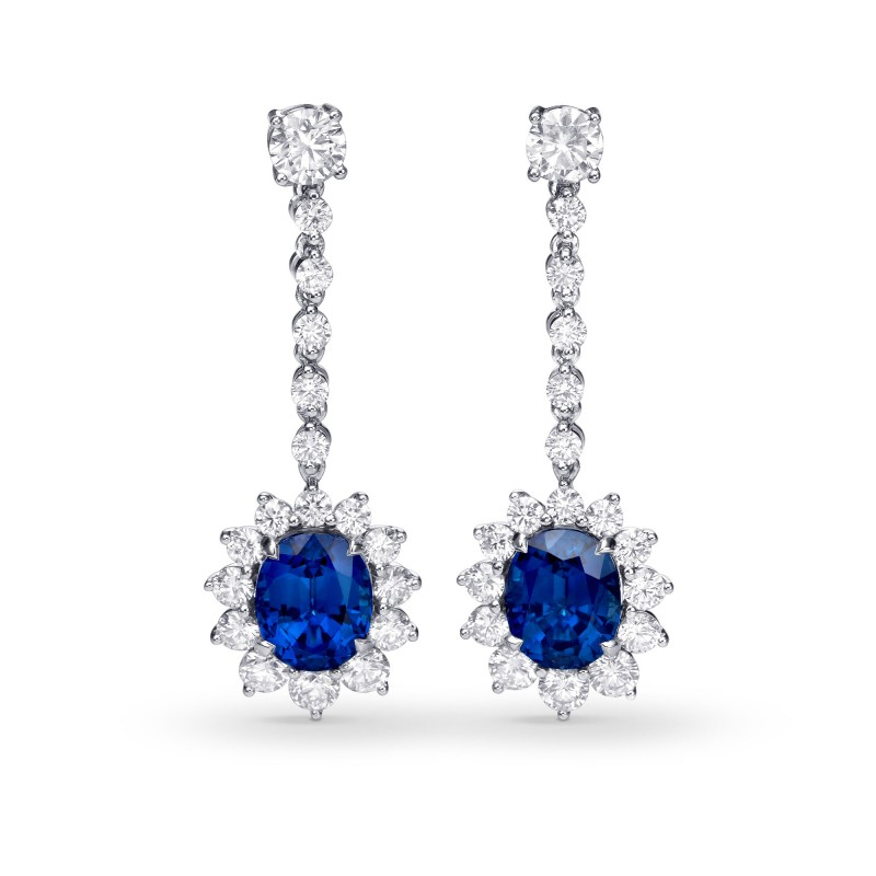 Deep Blue Oval Sapphire and Diamond Earrings, ARTIKELNUMMER 57381 (12,14 Karat TW)
