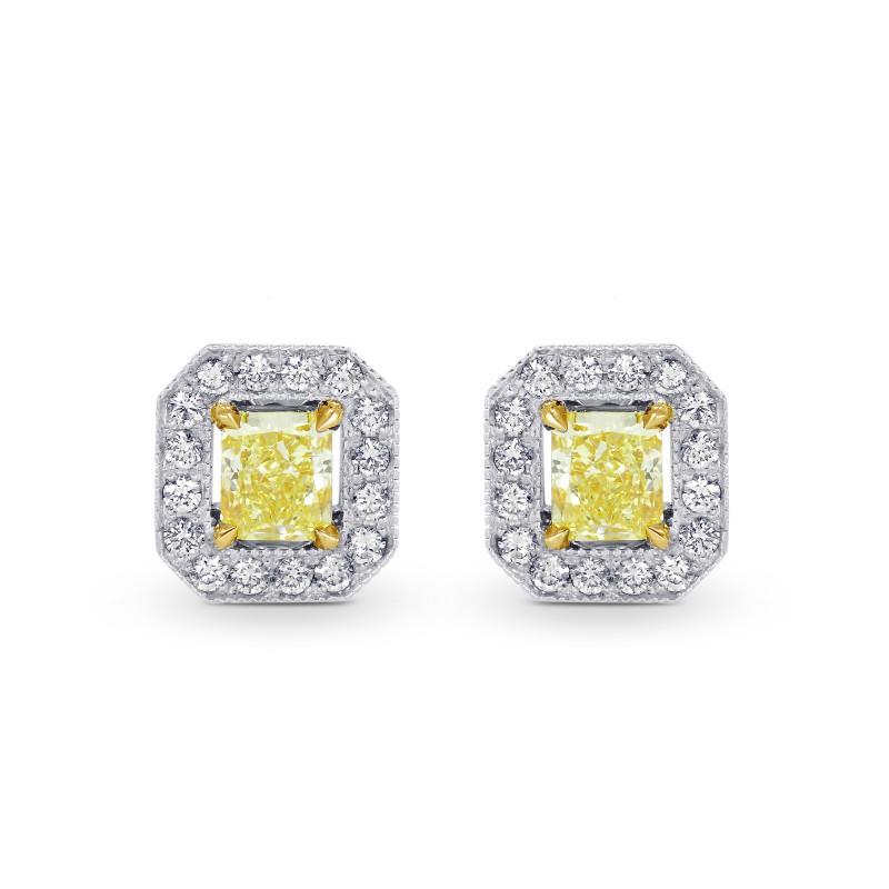 1.29ctTW Fancy Yellow Radiant Diamond Halo Earrings set in 18K gold, SKU 67083 (1.29Ct TW)
