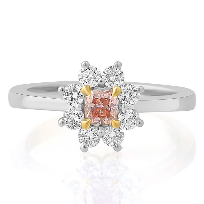 Fancy Orangy Pink Radiant and White Brilliant Diamond Dress Ring, SKU 72438 (0.62Ct TW)