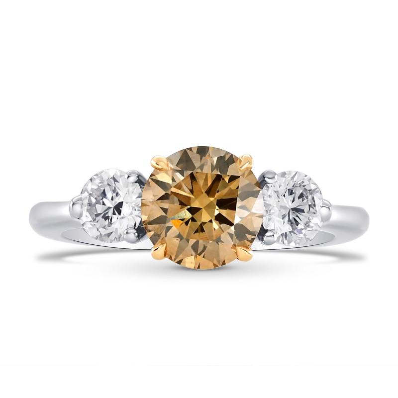 Fancy Brown Round Brilliant Three Stone Ring, SKU 73470 (1.86Ct TW)