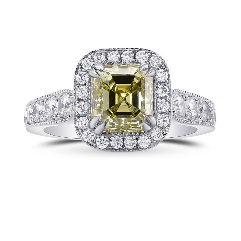 Fancy Grayish Greenish Yellow Emerald Shape Diamond Ring, SKU 76912 (2.79Ct TW)