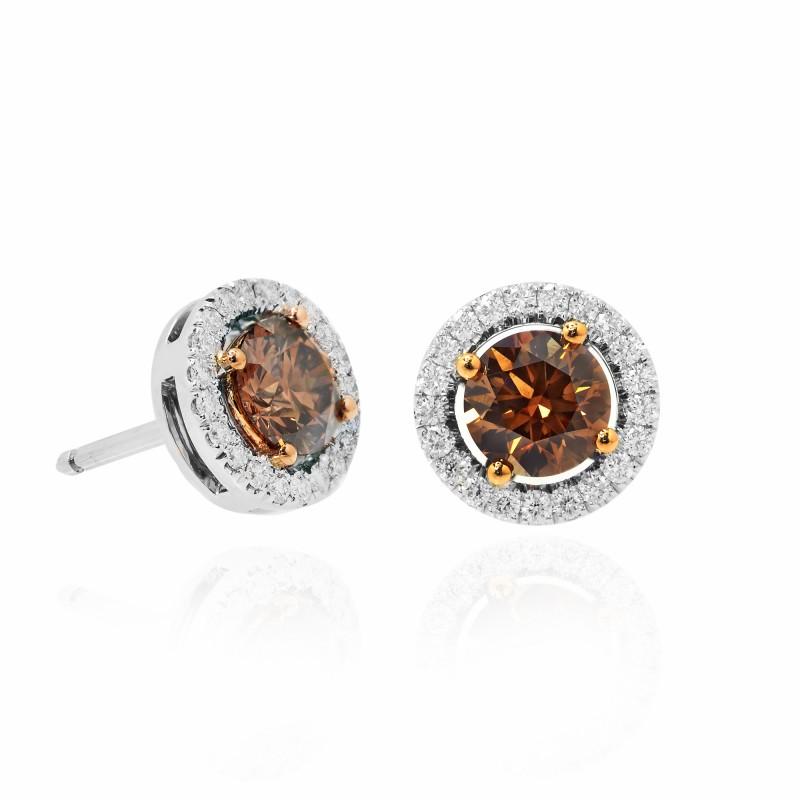 Round Fancy Dark Orangey Brown Halo Diamond Earrings, SKU 81257 (1.48Ct TW)