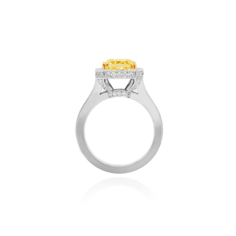 Fancy Intense Yellow Radiant Diamond closed pave setting and a split shank Halo Ring, SKU 94563 (3.41Ct TW)
