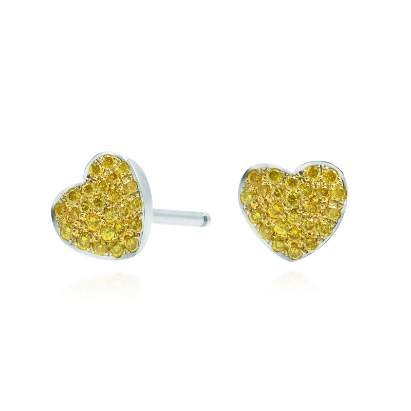 Fancy Vivid Yellow Diamond Pave Heart Earrings, SKU 95805