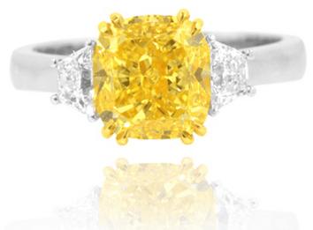 Yellow Three Stone Ring with Trapezoid Diamonds, GIA