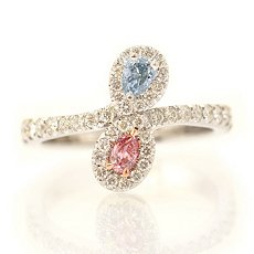 Purplish Pink and Blue Diamond Ring