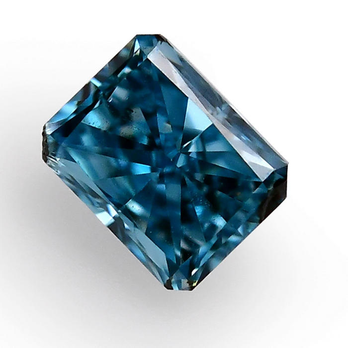 0.11 carat, Fancy Vivid Green Blue Diamond, Radiant Shape, (VS2) Clarity, GIA, SKU 315981
