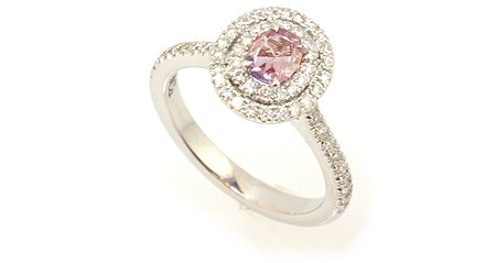 0.24 Carat, Fancy Pinkish Purple Halo Ring, Oval