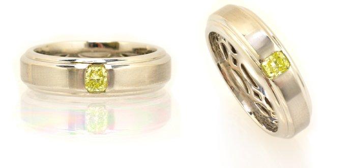 0.26-carat, Fancy Intense Green Yellow, Radiant