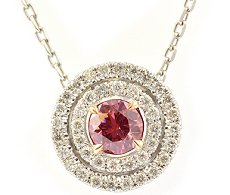 0.28ct Fancy Deep Pink Round Diamond Pendant