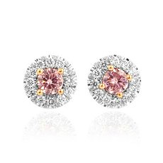 0.30 Carat, Round Fancy Pink Diamond and White Diamond Earrings, Round